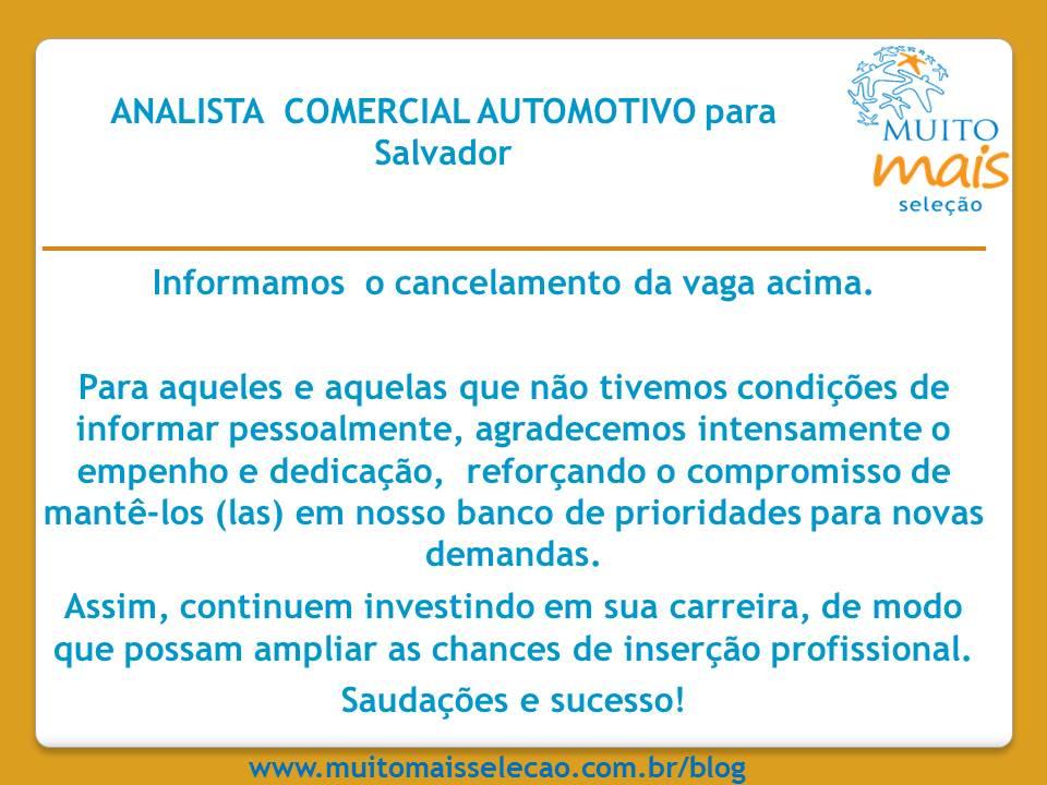 Aviso de Cancelam - Anal Comercial automotivo